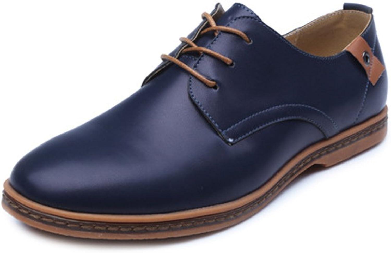 JIALUN-Schuhe Einfache Herren Große Müßiggänger PU Leder Vamp Vamp Vamp Lace Up Business Oxfords Stud Decor (Farbe   Blau, Größe   38 EU)  36ad00