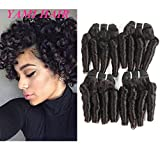 YAMI 8A Brazilian Virgin Funmi Hair Loose Wave 4 Bundles Spiral Curl Hair Bundles Short Curly Weave Unprocessed Brazilian Human Hair Extensions 50g/pc Full Head Natural Black 200g (8 8 8 8)