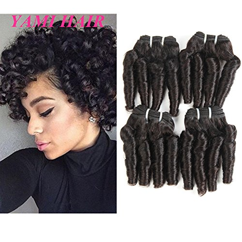 YAMI 8A Brazilian Virgin Funmi Hair Loose Wave 4 Bundles Spiral Curl Hair Bundles Short Curly Weave Unprocessed Brazilian Human Hair Extensions 50g pc Full Head Natural Black 200g (8 8 8 8)