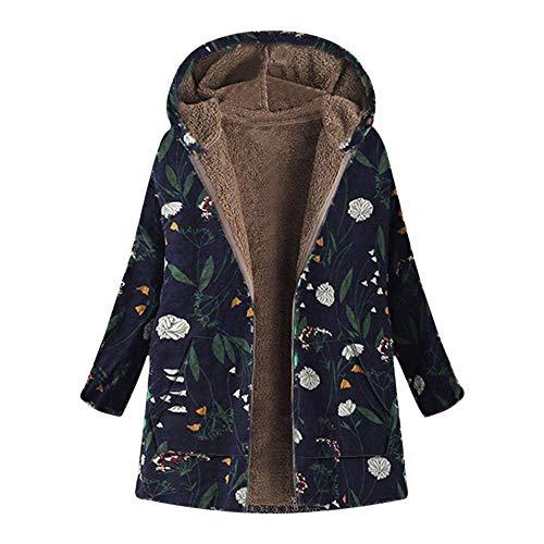 Saoye Fashion Abrigo de felpa Chaqueta de invierno Abrigo de invierno Abrigo Ropa de Fiesta cálido vintage Estampado floral Sudadera con capucha Tamaño de la chaqueta Tallas Outwear Fleece Ins