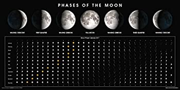 Phases of The Moon Calendar 2017 Educational Classroom Space Print  Unframed 12x24 Poster