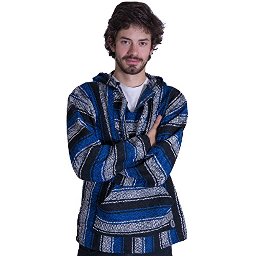 Orizaba Original Baja Hoodie Drug Rug - Black White Blue Classic - Dana Point S