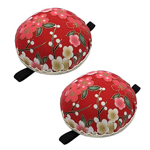 2 Packs Pin Cushion Vintage Printed Fabric Pincushions for DIY Handcraft Sewing Machine Home (Red)