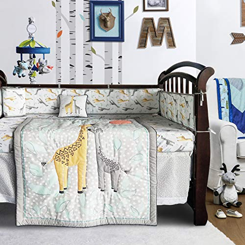 Brandream Crib Bedding Sets for Boys Baby Nursery Bedding Woodland Giraffe Family Dot Design, Gray & Yellow, 8-Piece