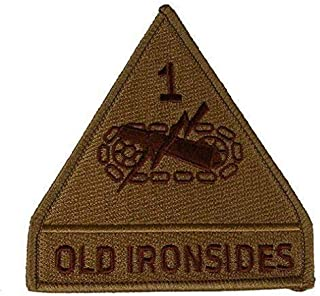 Embroidered Patch - Patches for Women Man - US Army 1ST First Armored Division AD Old Ironsides Veteran Desert TAN