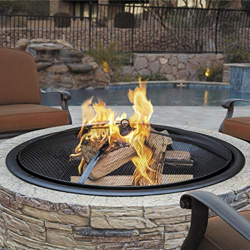 35-Inch Cast Stone Base Fire Pit with Dome Screen | Poker - Natural Stone | Happy Parents Depot