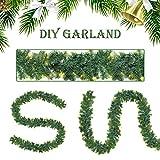SALCAR PREMIUM Weihnachtsgirlande mit 100 LEDs - 3m - Tannengirlande mit Beleuchtung - 30V - Künstliche Girlande Weihnachtsdeko - Weihnachtsschmuck - Deko für Weihnachten, Treppen, Kamine - Grün - 5