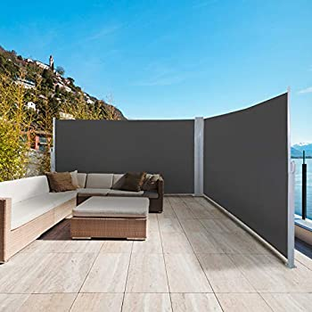 """sunseen Double Side Awning Retractable Patio Awning Folding Screen Fence Privacy Wall Corner Divider Indoor Room Divider Garden Outdoor Sun Shade Wind Screen with Steel Pole L 236"""" x H 63"""" Dark Grey"""