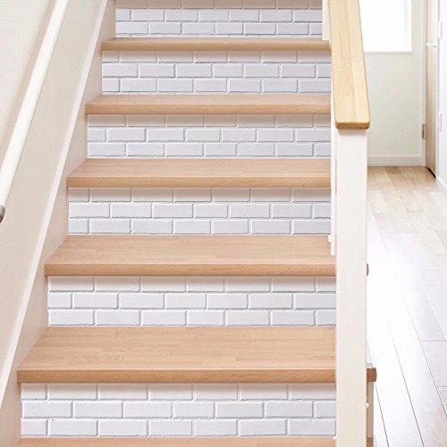 Frolahouse 6pcs Wall Decals Treppenhaus europäischen Stil Mode weiß DIY renoviert Treppe Aufkleber - Schlafzimmer Wandbilder selbstklebende Badezimmer wasserdichte Wand Vinyl Aufkleber Aufkleber