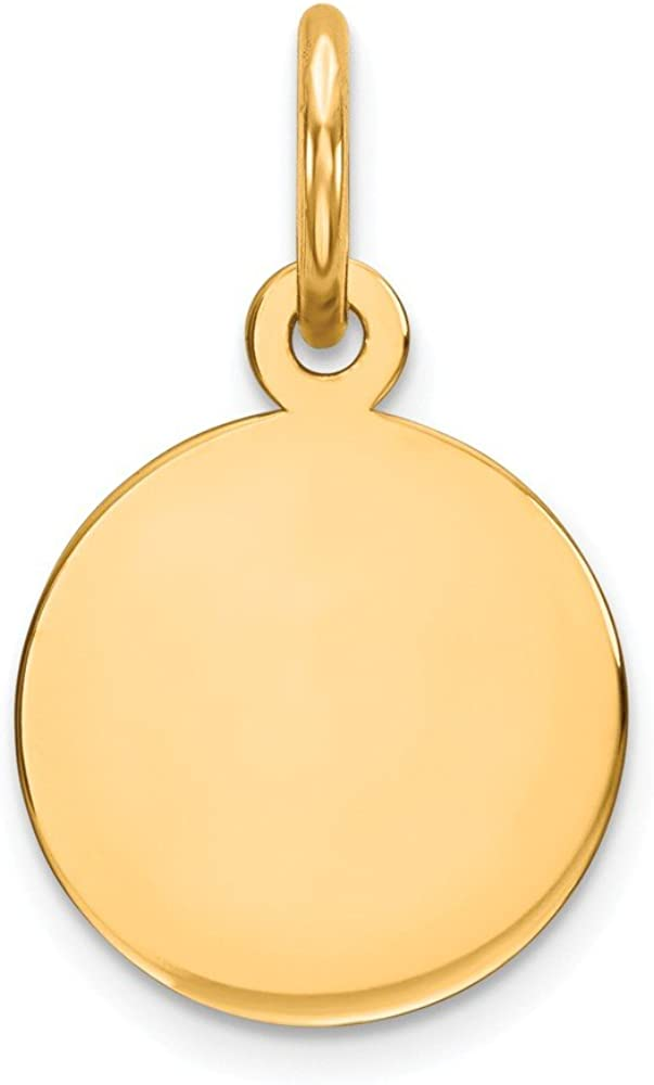 14k Yellow Gold .009 Gauge Circular Engravable Disc Pendant Charm Necklace Round Plain Fine Jewelry For Women Gifts For Her