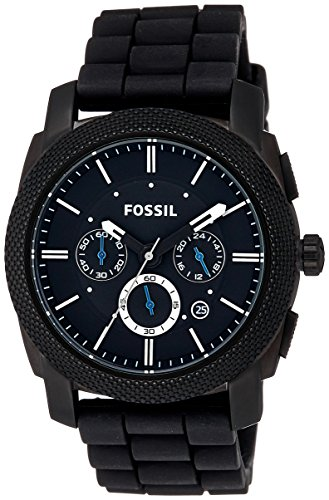 Fossil Machine Black Dial Silicone Strap Men's Watch FS4487