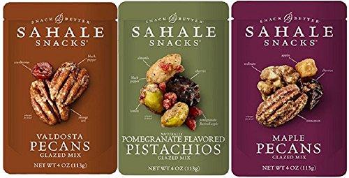 Sahale Snacks Glazed Nut Blends 3 Flavor Variety Bundle: (1) Sahale Snacks Maple Pecans With Walnuts, Cherries & Cinnamon, (1) Sahale Snacks Valdosta Pecans With Sweet Cranberries, Black Pepper & Oran