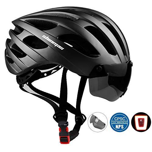 KINGLEAD Bike Helm mit Sicherheit Licht und Shield Visier, CE Zertifiziert Unisex geschützt Fahrradhelm für Radfahren Außen Sport Sicherheit, Leichter Flip Verstellbar Fahrrad Helm