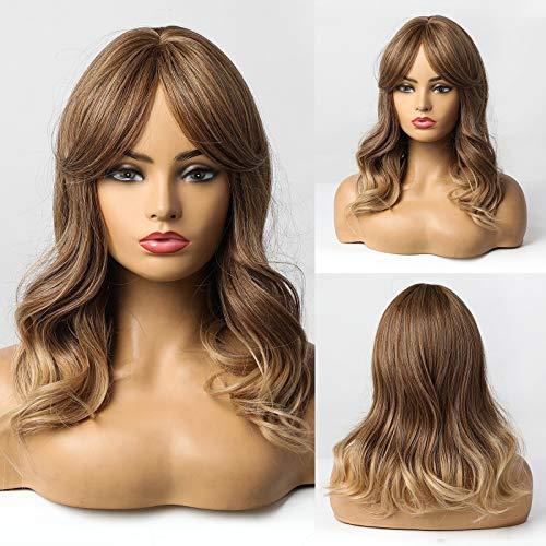 HAIRCUBE Parrucche per capelli lunghi ricci per donna Natura Ombre Colore Parrucca per capelli da marrone a biondo Art Uso quotidiano