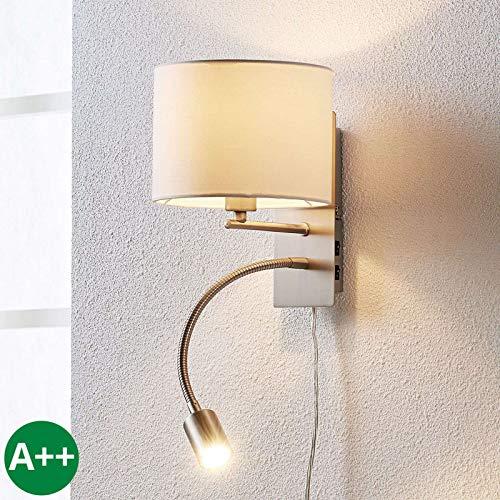 Lindby Wandleuchte, Wandlampe Innen 'Florens' (Modern) in Weiß aus Textil u.a. für Wohnzimmer & Esszimmer (1 flammig, E14, A++) - Wandleuchten, Wandstrahler, Wandbeleuchtung Schlafzimmer/Wohnzimmer