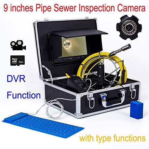HBHYQ Gran Pantalla de Tubo de endoscopio 23 Tubo de diámetro MM Tubo de cámara Detector inspección Interna 9 Pulgadas bajo el Agua inspección cámara Impermeable (Video),180m