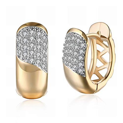 K-Gold Oorstekers met zirkoniasteentjes, romantische oorbellen met geometrische knopjes, champagne-goud, voor dames, hypoallergeen, glanzend zilver, diamant, peque?o en delicate mode zout Como se muestra