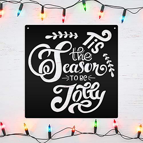 DKISEE Tis The Season To Be Jolly - Cartel de metal para pared, diseño de Navidad, color negro, decoración de pared para sala de estar, dormitorio, cocina, puerta, jardín, 35,4 cm, SpFa813