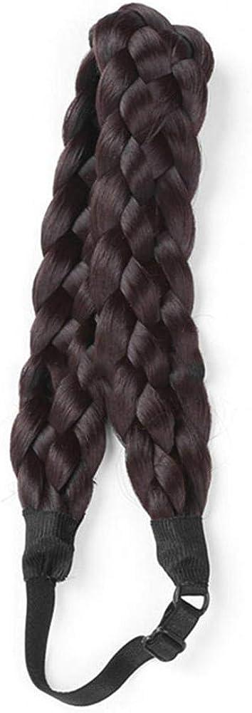 Elastic Braided Hairband Chunky Braid Wig Headband Synthetic Hair Plaited Braided Headband 5 Strands Braids Hairpiece For Women Girls