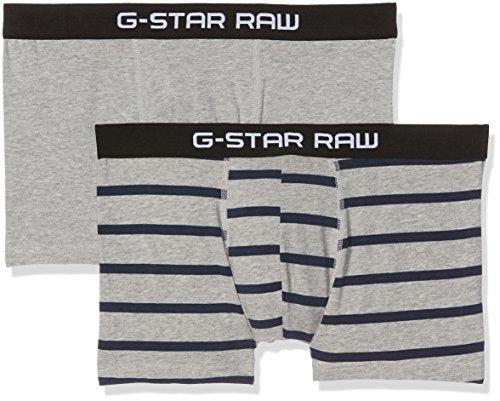 G-STAR RAW Herren Tach Trunk Stripe 2 Pack Unterwäsche, Mehrfarbig (Grey Htr/Imperial Blue AO 8514), Small