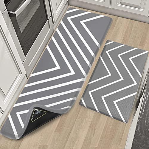 X-Lounge PVC Kitchen Mats,2PCS Anti Fatigue Mat Non Slip Standing Rug Memory Foam Kitchen Mats Set for Kitchen, Standing Desk Office Laundry (Grey)