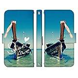 Galaxy S20+ 5G SCG02 ケース [デザイン:10.海の上のボート/マグネットハンドあり] サマーラブ 夏 手帳型 スマホケース カバー ギャラクシーs20+ プラス scg02