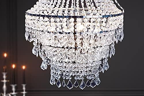 Große XL Design Hängelampe ROYAL Kristall Strass Kronleuchter Lampe Hängeleuchte Lüster klar Acrylglas - 5