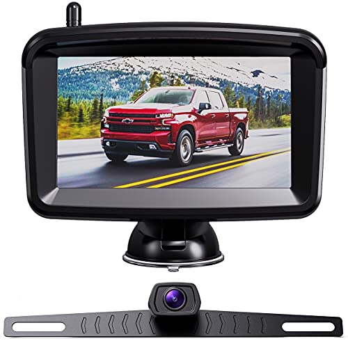 Xroose Wireless Backup Camera - 5 Inch Rear View Backup Camera System, 1080P Monitor and Infrared Night Vision Reversing Camera for Cars Pickup Trucks SUVs RVs, Stable Digital Wireless Signal