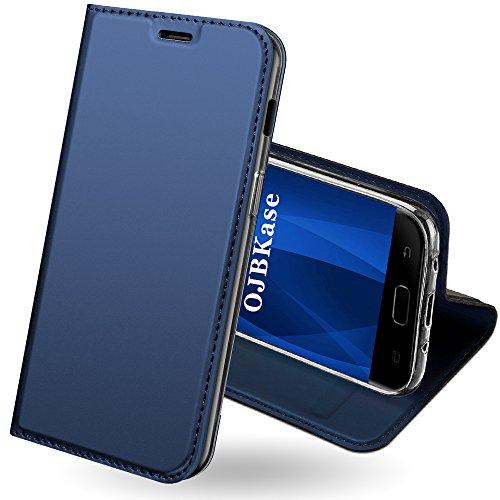 Funda Samsung Galaxy J7 2017,OJBKase Premium piel sintética Billetera Carcasa Protectora Cartera y Funda Cubierta interior TPU Protección De Cuerpo Completo Case para Samsung Galaxy J7 2017 (Azul)