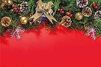 Amxxy 10x7ftビニールレッドクリスマスの背景写真の背景クリスマスレッド無地松の葉コーンスノーフレークホリデーパーティーの装飾テレビ番組大人キッズポートレート写真スタジオ小道具