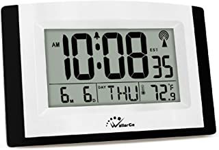 WallarGe LCD Digital Wall Clock,Atomic Clock with Fold Out Stand,Battery Operated,Radio Controlled, Easy to Read Time,Date,Day of The Week and Temperature.