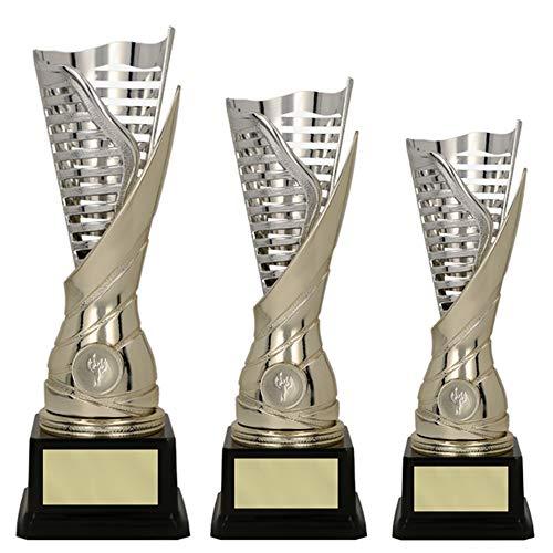 RaRu 3er-Serie extravagante Sport-Pokale mit Wunschgravur und Sport-Emblem (Flamme silbergold) (Dart)