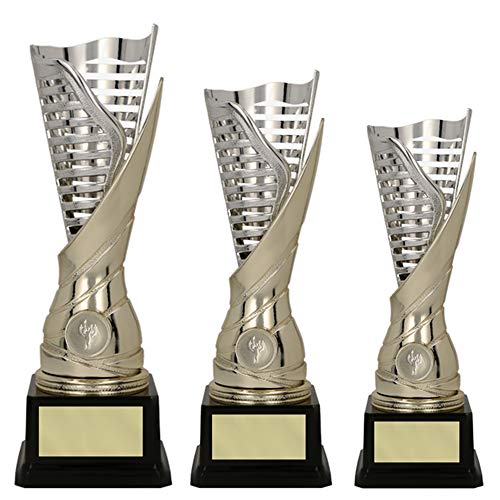 RaRu 3er-Serie extravagante Sport-Pokale mit Wunschgravur und Sport-Emblem (Flamme silbergold) (Leichtathletik (Läufer))