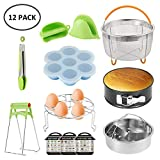 Instant Pot Accessories Set, 12 Pcs Pressure Cooker Accessories Fit 6/8Qt Steamer Basket with Non-Stick Springform Pan, Egg Rack, Silicone Oven Gloves, Fridge Sticks, Food Clip, Tray Clip