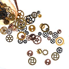 FOCCTS Jewelry Cogs 100 Grams Assorted Antique Steampunk Gears Charms Cogs, for Jewelry Making Accessory & Crafting, Mixed Colors #5