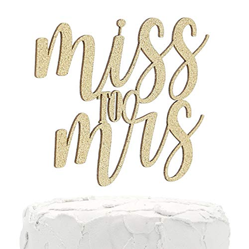 NANASUKO Bachelorette Party Cake Topper - Miss to Mrs - Double Sided Gold Glitter - Premium quality Made in USA