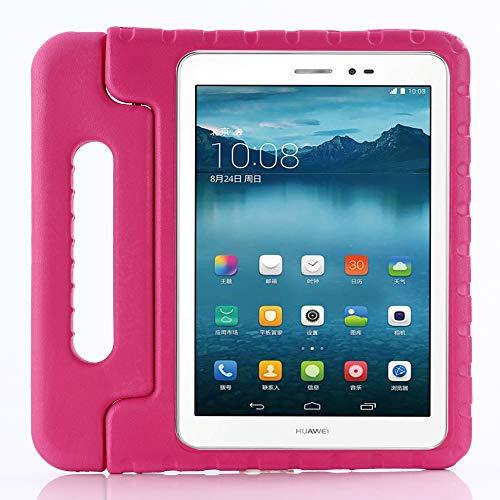 ZiHang Funda Infantil Huawei MediaPad T3 10,  Carcasa Niño Antigolpes con Asa Convertible Tapa de Soporte,  Funda Bebé Ligera para Huawei MediaPad T3 10 (Rosa roja)