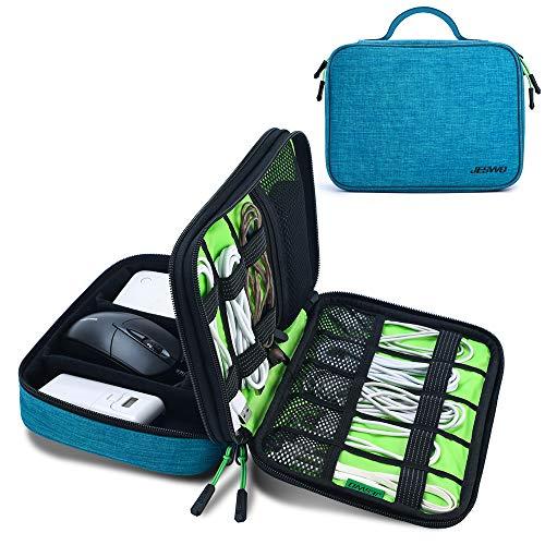 JESWO Kabeltasche, Doppelte Schichte Elektronik Organizer Tasche und Kabel Organizer für Kabel, SD-Karten, Festplatte, Power Bank, iPad Mini (bis zu 7,9 Zoll) – Blau