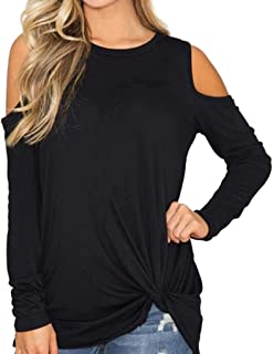 Women 's Casual Solid Long Sleeved Cold Shoulder Knotted Hem Tops T-Shirt Blouse