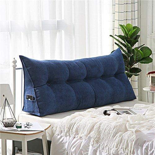 単色 ベッドサイド クッション, 読書枕 欧州 ダブルベッドクッション ソフトパック 大型クッション ベッドのクッション-白 60x20x50cm(24x8x20inch)