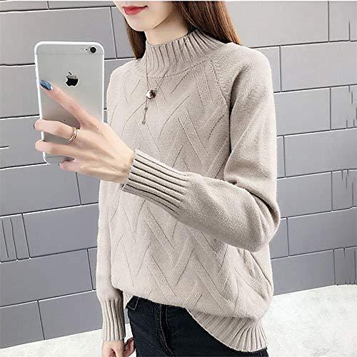 JFHGNJ Fall Winter Pullover Sweater Vrouwen Lange mouwen Coltrui Vrouw Geel Blauw Groen Warm Jumper-Khaki_M