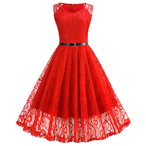 TIFENNY Women Casual Double Layer Lace Dresses Vintage 1950s Retro Sleeveless V-Neck Evening Party Prom Swing Dress Red