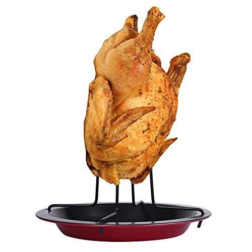 DOACT Parrilla de Cocina de Pollo Vertical Antiadherente con Bandeja de Fiesta para Asar a la Parrilla