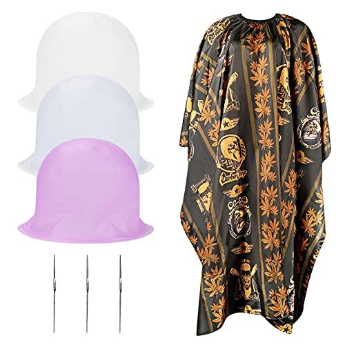 E-More Tapa de silicona reutilizable para cabello, para peluquería, tinte, gorra y gancho de metal, para darle un toque de estilo al cabello