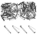 BEADNOVA Brooch Pin Back 60pcs Bar Pin Back 1.5 Inch Clasp Pin Back Brooch Pin Backs for Crafts Badge Name Tag DIY Jewelry Making & Craft (60 Pcs, Silver Color)