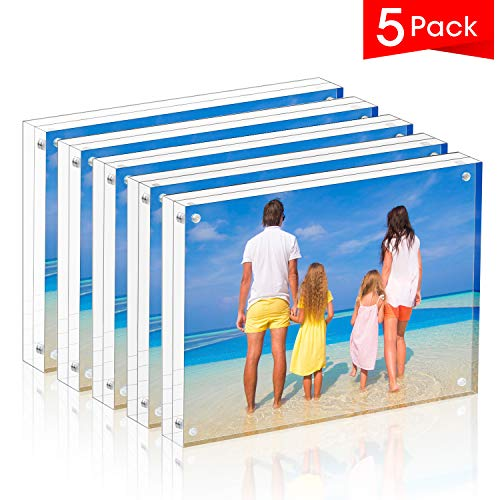 Meetu Acrylic Picture Frame 5x7,Clear Freestanding Double Sided 20mm Thickness Frameless Magnetic Photo Frames Desktop Display with Gift Box Package(5 Pack) Double Picture Frame Magnet