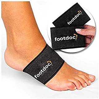 FOOTDOC Compression Copper Arch Support Brace - 2 Plantar Fasciitis Sleeves for Pain Relief, Heel Spurs and Flat Feet (S/M)