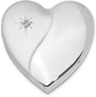 Ciondolo a forma di cuore in argento Sterling 925 con finitura satinata lucida
