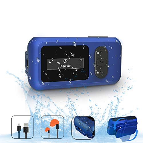 IP68 Waterproof MP3 Player for Swimming, SUNNZO 16GB Swimming Bluetooth MP3 with Screen, FM Radio, Rotatable Clip, Earphone, Pedometer, Over 10 Hours Playback, Underwater 3 Meter