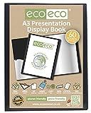 Eco-Eco A3 50% Riciclata 60 Taschino Colore Nero Presentazione Mostra Libro, A3 60 Pocket/120 View 1 X Single